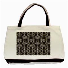 Hexagon1 Black Marble & Light Sand Basic Tote Bag by trendistuff