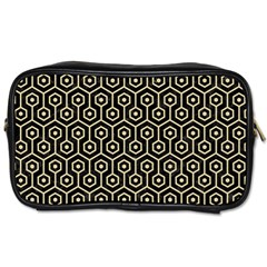 Hexagon1 Black Marble & Light Sand Toiletries Bags by trendistuff
