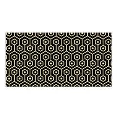 Hexagon1 Black Marble & Light Sand Satin Shawl by trendistuff