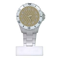 Hexagon1 Black Marble & Light Sand (r) Plastic Nurses Watch by trendistuff