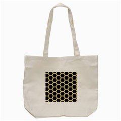Hexagon2 Black Marble & Light Sand Tote Bag (cream) by trendistuff