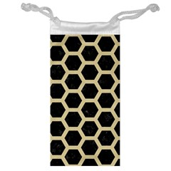 Hexagon2 Black Marble & Light Sand Jewelry Bag by trendistuff