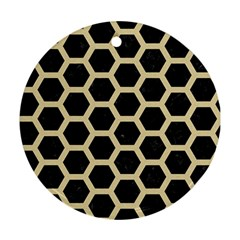Hexagon2 Black Marble & Light Sand Round Ornament (two Sides) by trendistuff