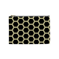 Hexagon2 Black Marble & Light Sand Cosmetic Bag (medium)  by trendistuff