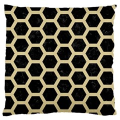 Hexagon2 Black Marble & Light Sand Large Flano Cushion Case (two Sides) by trendistuff