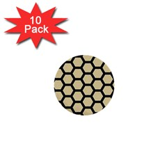 Hexagon2 Black Marble & Light Sand (r) 1  Mini Buttons (10 Pack)  by trendistuff