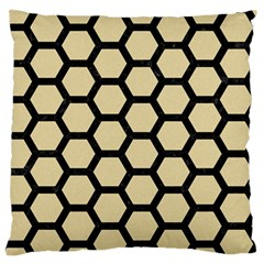 Hexagon2 Black Marble & Light Sand (r) Large Flano Cushion Case (two Sides) by trendistuff