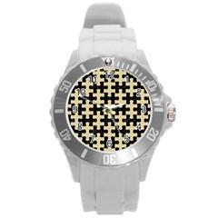 Puzzle1 Black Marble & Light Sand Round Plastic Sport Watch (l) by trendistuff