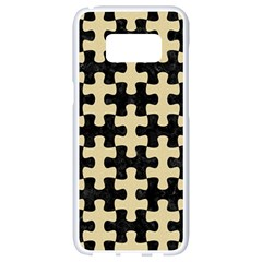 Puzzle1 Black Marble & Light Sand Samsung Galaxy S8 White Seamless Case by trendistuff