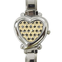 Royal1 Black Marble & Light Sand Heart Italian Charm Watch by trendistuff