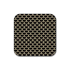 Scales3 Black Marble & Light Sand Rubber Square Coaster (4 Pack)  by trendistuff