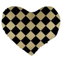Square2 Black Marble & Light Sand Large 19  Premium Heart Shape Cushions by trendistuff