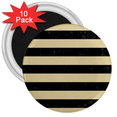 Stripes2 Black Marble & Light Sand 3  Magnets (10 Pack)  by trendistuff