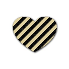 Stripes3 Black Marble & Light Sand Rubber Coaster (heart)  by trendistuff