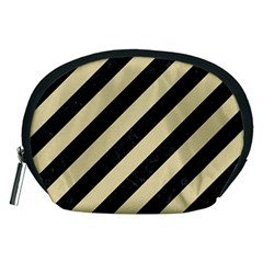 Stripes3 Black Marble & Light Sand Accessory Pouches (medium)  by trendistuff
