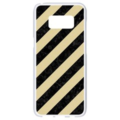 Stripes3 Black Marble & Light Sand Samsung Galaxy S8 White Seamless Case by trendistuff