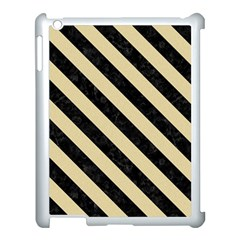 Stripes3 Black Marble & Light Sand (r) Apple Ipad 3/4 Case (white) by trendistuff