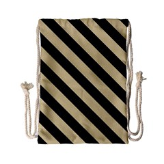 Stripes3 Black Marble & Light Sand (r) Drawstring Bag (small) by trendistuff