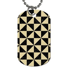 Triangle1 Black Marble & Light Sand Dog Tag (two Sides) by trendistuff