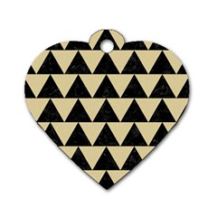 Triangle2 Black Marble & Light Sand Dog Tag Heart (one Side) by trendistuff