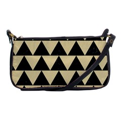 Triangle2 Black Marble & Light Sand Shoulder Clutch Bags by trendistuff