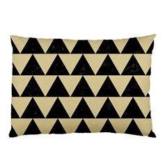 Triangle2 Black Marble & Light Sand Pillow Case (two Sides) by trendistuff