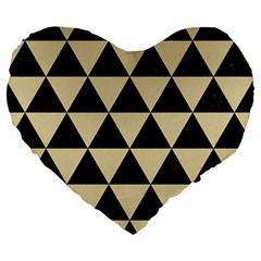 Triangle3 Black Marble & Light Sand Large 19  Premium Flano Heart Shape Cushions by trendistuff