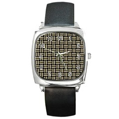 Woven1 Black Marble & Light Sand Square Metal Watch by trendistuff