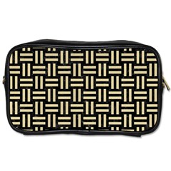 Woven1 Black Marble & Light Sand Toiletries Bags by trendistuff