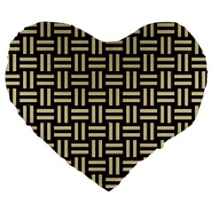 Woven1 Black Marble & Light Sand Large 19  Premium Heart Shape Cushions by trendistuff