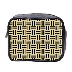 Woven1 Black Marble & Light Sand (r) Mini Toiletries Bag 2 Side by trendistuff