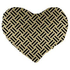 Woven2 Black Marble & Light Sand (r) Large 19  Premium Heart Shape Cushions by trendistuff