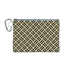 Woven2 Black Marble & Light Sand (r) Canvas Cosmetic Bag (m) by trendistuff