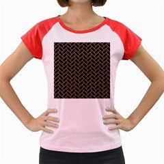Brick2 Black Marble & Natural Red Birch Wood Women s Cap Sleeve T Shirt by trendistuff
