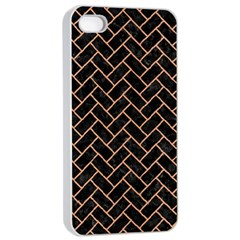Brick2 Black Marble & Natural Red Birch Wood Apple Iphone 4/4s Seamless Case (white) by trendistuff
