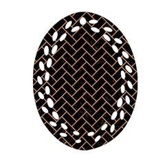 Brick2 Black Marble & Natural Red Birch Wood Ornament (oval Filigree) by trendistuff