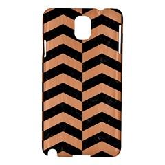 Chevron2 Black Marble & Natural Red Birch Wood Samsung Galaxy Note 3 N9005 Hardshell Case by trendistuff