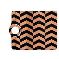 Chevron2 Black Marble & Natural Red Birch Wood Kindle Fire Hdx 8 9  Flip 360 Case by trendistuff