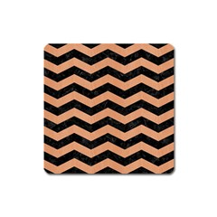 Chevron3 Black Marble & Natural Red Birch Wood Square Magnet by trendistuff