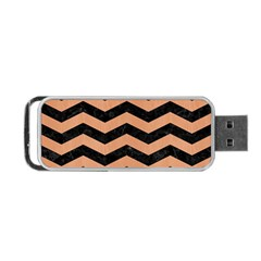 Chevron3 Black Marble & Natural Red Birch Wood Portable Usb Flash (one Side) by trendistuff