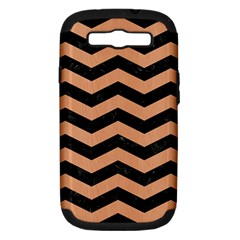 Chevron3 Black Marble & Natural Red Birch Wood Samsung Galaxy S Iii Hardshell Case (pc+silicone) by trendistuff