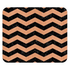 Chevron3 Black Marble & Natural Red Birch Wood Double Sided Flano Blanket (small)  by trendistuff