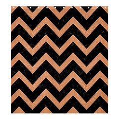 Chevron9 Black Marble & Natural Red Birch Wood Shower Curtain 66  X 72  (large)  by trendistuff
