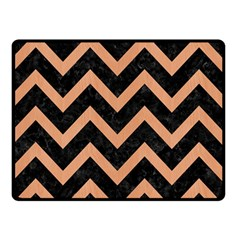 Chevron9 Black Marble & Natural Red Birch Wood Double Sided Fleece Blanket (small)  by trendistuff