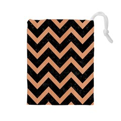 Chevron9 Black Marble & Natural Red Birch Wood Drawstring Pouches (large)  by trendistuff