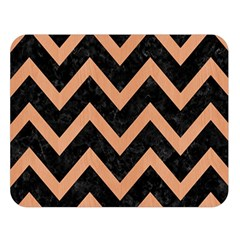 Chevron9 Black Marble & Natural Red Birch Wood Double Sided Flano Blanket (large)  by trendistuff