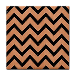 Chevron9 Black Marble & Natural Red Birch Wood (r) Tile Coasters by trendistuff