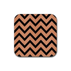 Chevron9 Black Marble & Natural Red Birch Wood (r) Rubber Square Coaster (4 Pack)  by trendistuff