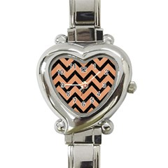 Chevron9 Black Marble & Natural Red Birch Wood (r) Heart Italian Charm Watch by trendistuff