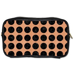 Circles1 Black Marble & Natural Red Birch Wood (r) Toiletries Bags by trendistuff